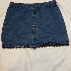 Forever 21 Jean Skirt Black Lace Trim added